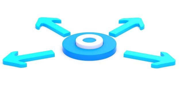Círculo com quatro setas
