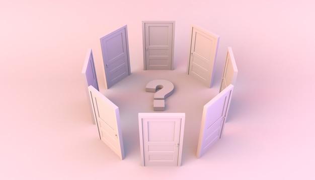 Círculo da porta fechada com ponto de interrogação no centro. o escolheu. ilustração 3d. mínimo. moderno.
