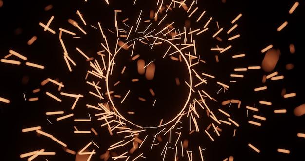 Círculo de anel mágico com luz cintilante., fundo de renderização 3d
