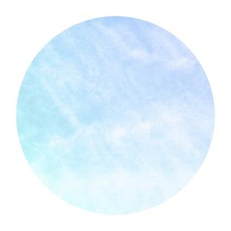 Círculo de aquarela desenhada mão azul frio