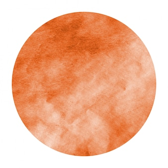Círculo de aquarela desenhada mão laranja