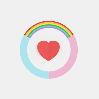 Círculo de arco-íris de amor, cor azul e rosa com coração vermelho no meio, conceito mínimo criativo, renderização em 3d