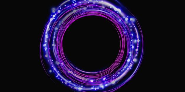 Círculo de brilho do anel de energia tecnologia de renderização 3d abstrato.