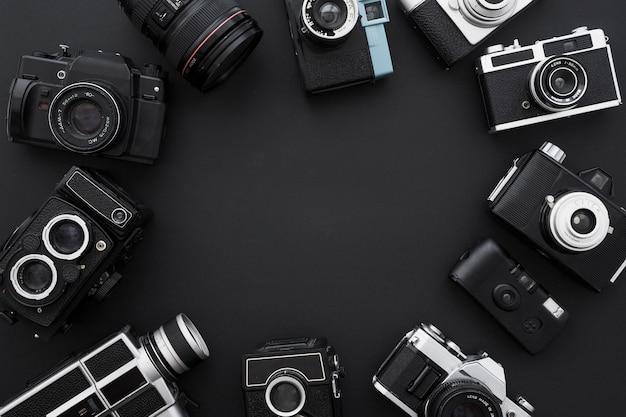 Círculo de câmeras de foto e vídeo