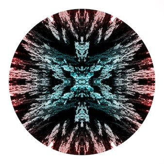 Círculo de design de barbear metálico magnético de caleidoscópio em fundo branco