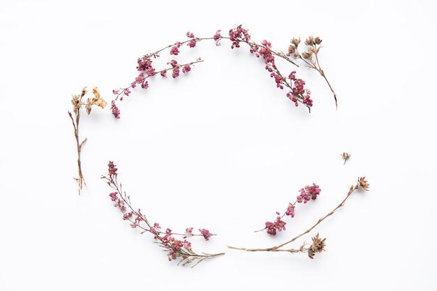 Círculo de flores silvestres secas