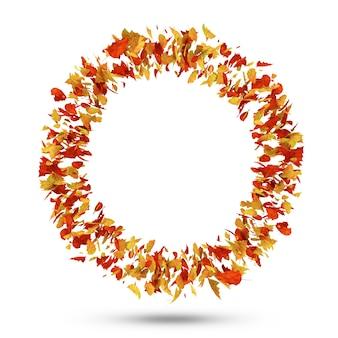 Círculo de folhas de outono isolado