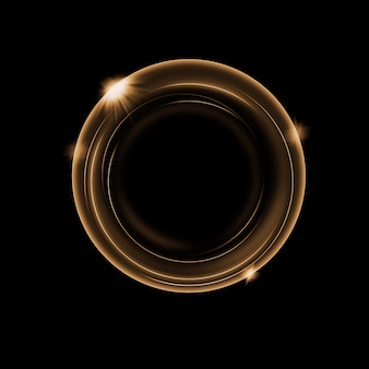 Círculo de iluminação ouro abstrato com efeito sobre fundo escuro