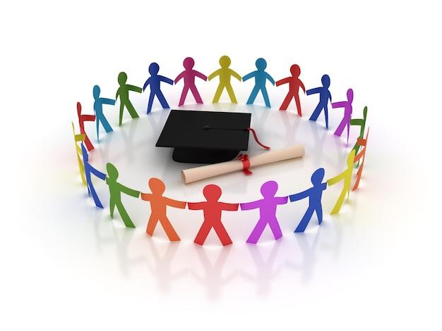 Círculo de pictograma pessoas trabalho em equipe com capelo e diploma