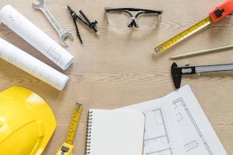 Círculo de rascunhos e ferramentas de construção
