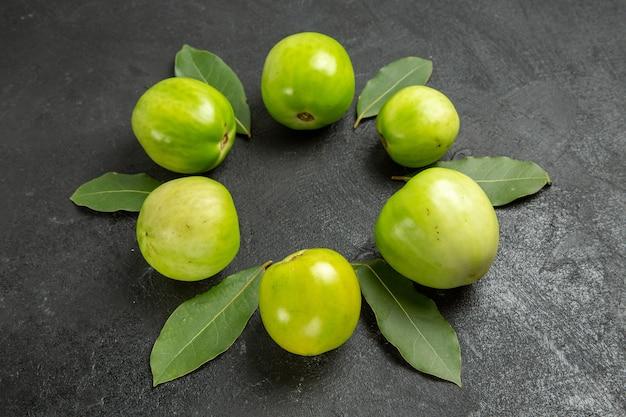 Círculo de vista inferior de tomates verdes e folhas de louro em fundo escuro