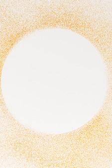 Círculo de vista superior com detalhes de textura dourada
