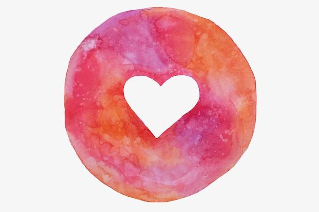 Círculo desenhado de mão com coração vazio em tons de rosa, roxos, dia dos namorados.