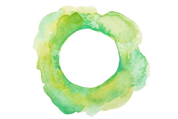 Círculo estilizado em aquarela nas cores verdes isolado
