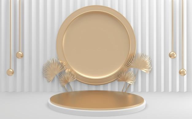 Círculo geométrico dourado e branco podium renderização em 3d