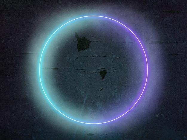 Círculo luminoso sintetizado onda retro onda vaporwave estética futurista brilhante estilo neon horizontal