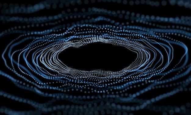 Círculo onda moderna efeito 3d fundo azul