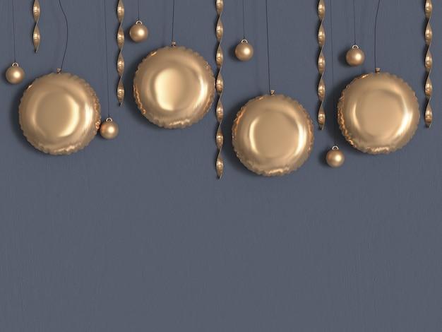 Círculo ouro metálico cinza parede renderização em 3d