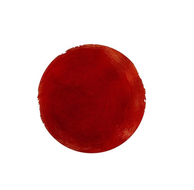Círculo pintado de vermelho abstrato isolado no branco
