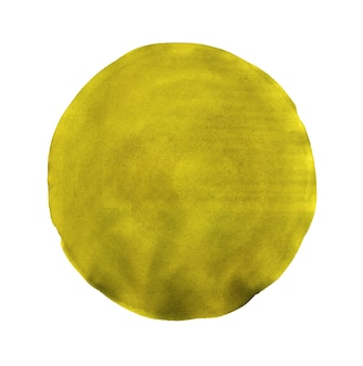 Círculo pintado em aquarela abstrato amarelo isolado no branco