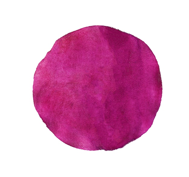 Círculo pintado em aquarela abstrato vermelho ou rosa isolado no branco
