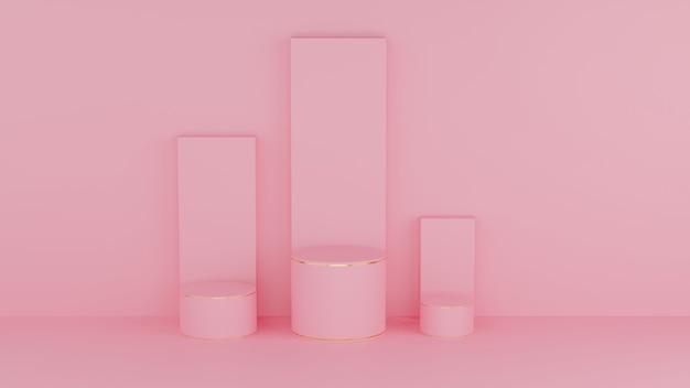 Círculo pódio cor rosa pastel e borda dourada para o produto