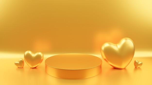 Círculo pódio dourado cor pastel coração dourado