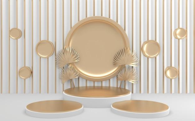Círculo pódio geométrico dourado e branco. renderização 3d
