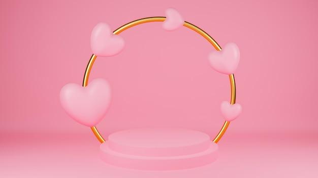 Círculo pódio rosa cor pastel com coração rosa e anel de ouro. conceito de dia dos namorados. vitrine de mock-up para o produto.