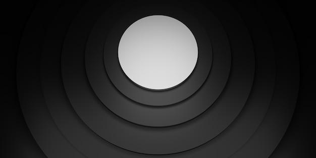Círculo preto display suporte anel moldura fundo círculo rodapé ilustração 3d