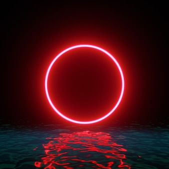 Círculo vermelho brilhante de néon com reflexos na água, luzes e ondas.