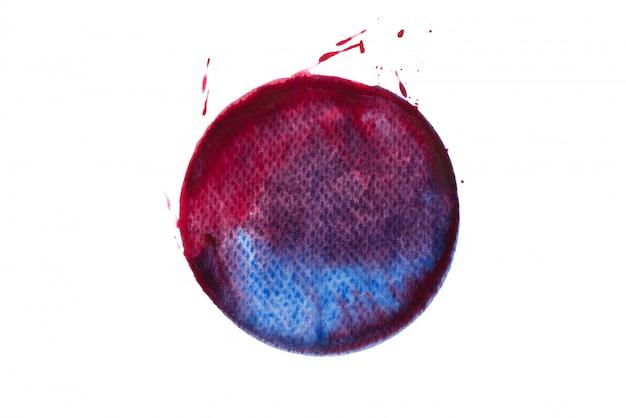 Círculo vermelho com cor de pintura azul