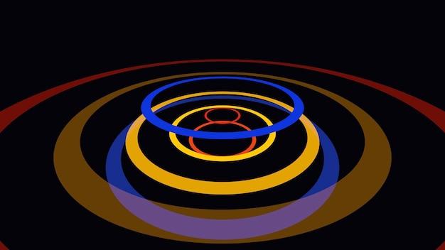 Círculos amarelos e azuis de movimento, fundo abstrato. estilo dinâmico elegante e luxuoso para negócios, ilustração 3d