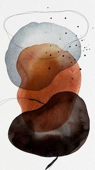Círculos coloridos em aquarela com desenho de fundo do telefone