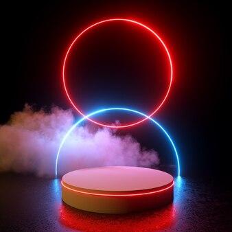 Círculos duplos brilhantes luz de néon vermelha e azul com pódio e nuvem renderização em 3d