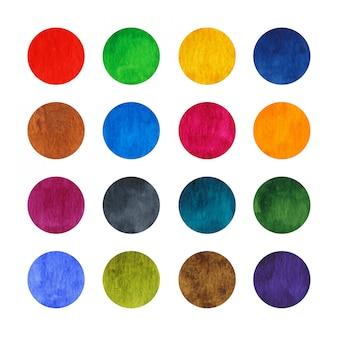 Círculos em aquarela de arco-íris conjunto isolados