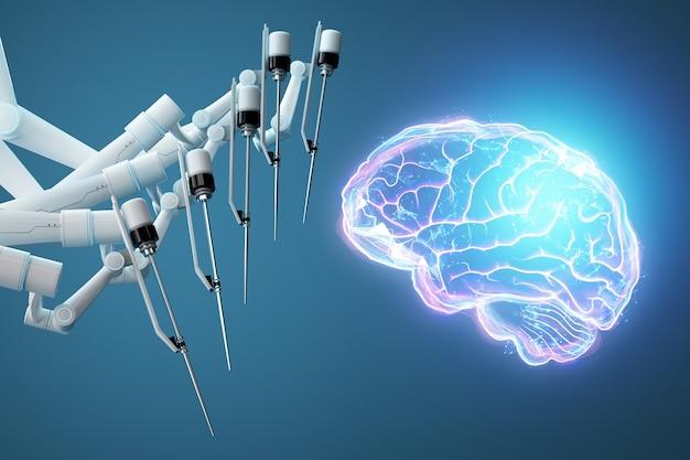 Cirurgião robô e holograma do cérebro humano. equipamento médico para neurocirurgia. medicina moderna, tecnologia. 3d render, ilustração 3d.