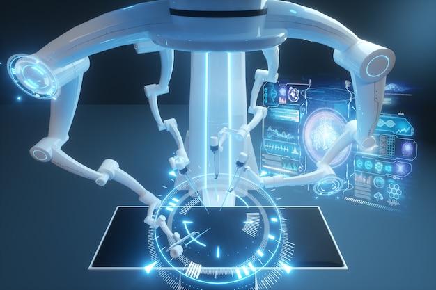 Cirurgião robô, equipamento robótico. inovação cirúrgica minimamente invasiva com visão tridimensional. tecnologia, o futuro da medicina, cirurgião. 3d rendem, ilustração 3d.