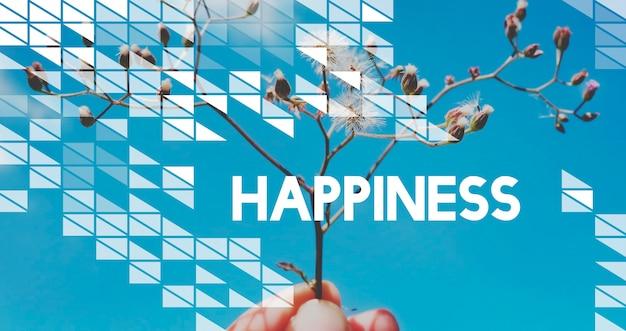 Citação de vibrações positivas inspiradoras de motivação de vida no fundo da flor e do céu azul