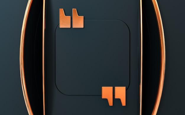 Citar quadros, modelos em branco definir discurso vazio caixa de texto isolada em fundo escuro e dourado 3d ren