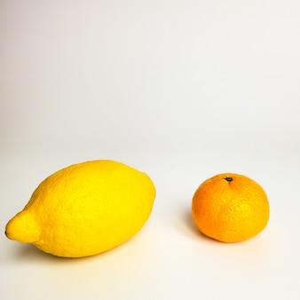Citrinos limão e mandarim em uma parede branca
