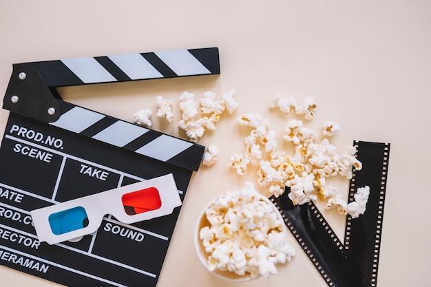 Clapperboard e elementos de filme