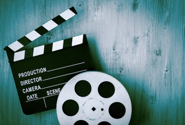 Clapperboards e o rolo de filme