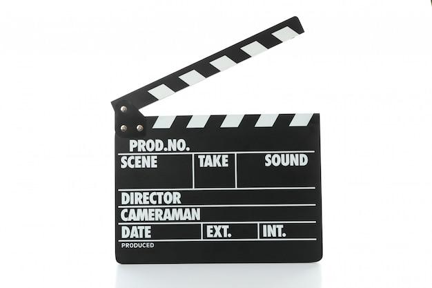 Claquete de cinema isolado no fundo branco