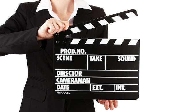 Claquete de produção de filme isolada no branco