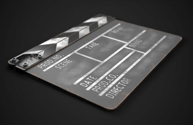 Claquete preta. ilustração 3d realista. claquete de cinema. imagem de renderização 3d.