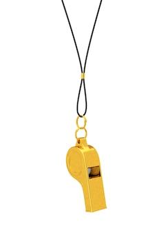 Clássico golden coaches apito pendurado na corda em um fundo branco. renderização 3d