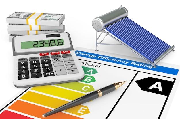 Classificação de eficiência energética com painel de aquecimento solar de água em um fundo branco