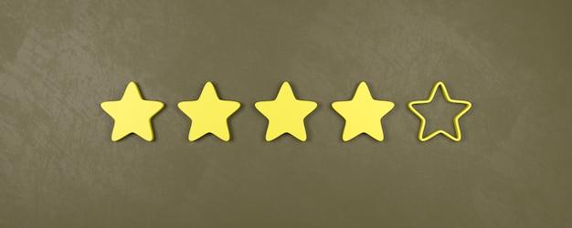 Classificação de quatro de cinco estrelas, bons conceitos de classificação
