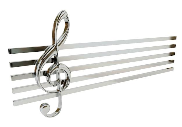 Clave de sol de aço e a pauta musical, isolada em um fundo branco. símbolo musical.